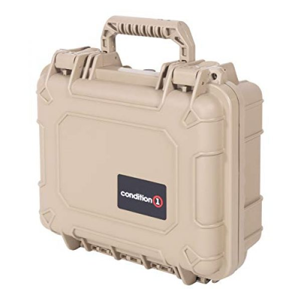 """Condition 1 Pistol Case 6 Condition 1 Premium Dual Pistol Hard Case with Foam, Tan   9"""" x 7"""" x 4""""   Waterproof Case for Handgun and Mags   Pick and Pluck Foam   TSA Ready"""