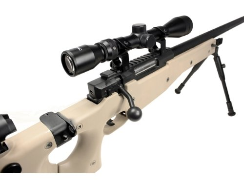 Well  3 Well l96 spring sniper airsoft rifle w/ bi-pod and scope (tan)(Airsoft Gun)