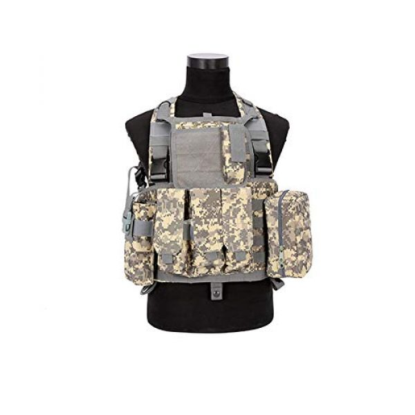 BGJ Airsoft Tactical Vest 4 CP Camo Vest RRV Molle Airsoft Tactical Vest Military Combat Assault Chest Rig Paintball Police Body Armor Hunting Vest