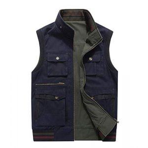 DAFREW Airsoft Tactical Vest 1 DAFREW Men's Reversible Cotton Casual Gilet Vest Outdoor Multi Pockets Full Zip Vests (Color : Black, Size : L)