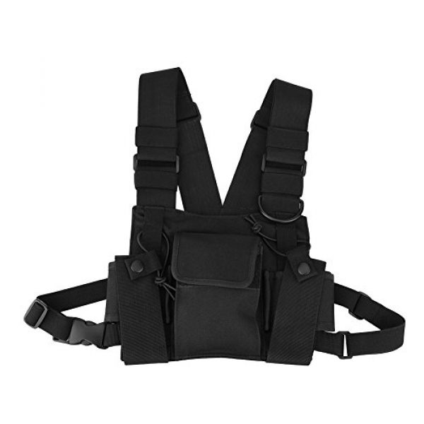 Hakeeta Airsoft Tactical Vest 1 Hakeeta Walkie-Talkie Chest Bag, Nylon Chest Front Pack,Chest Harness.Universal Adjustable Bag with Three-Ring Adjustment Strap System for Rescue, Police, Duty and Workshopps