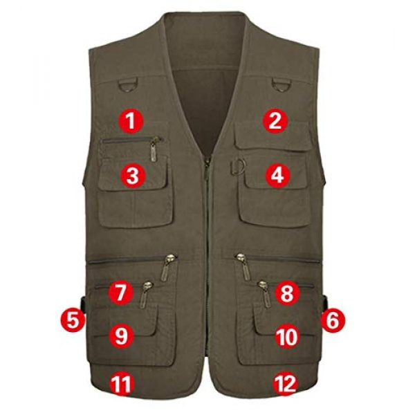 DAFREW Airsoft Tactical Vest 4 DAFREW Men's Vest Spring and Autumn Outdoor Vest Fishing Vest Cotton Custom Multi-Pocket Vest (Color : Deep Khaki, Size : L)