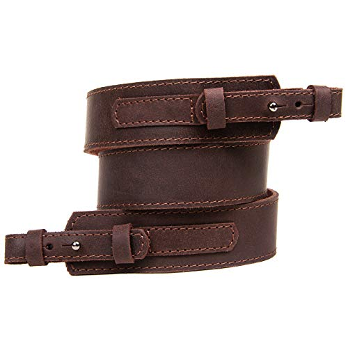 Free2Buy  5 Free2Buy Rifle Sling Gun Shoulder Genuine Leather Adjustable Belt for Hunting Outdoor Tactical Shotgun Sling Strap Shotgun Embossed