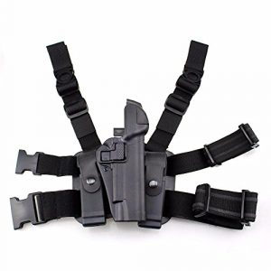 PG  1 PG Tactical 1911 Leg Holster Right Thigh Paddle Belt Level 3 Lock Duty Pistol Gun Holster w/Magazine Torch Pouch for Colt 1911