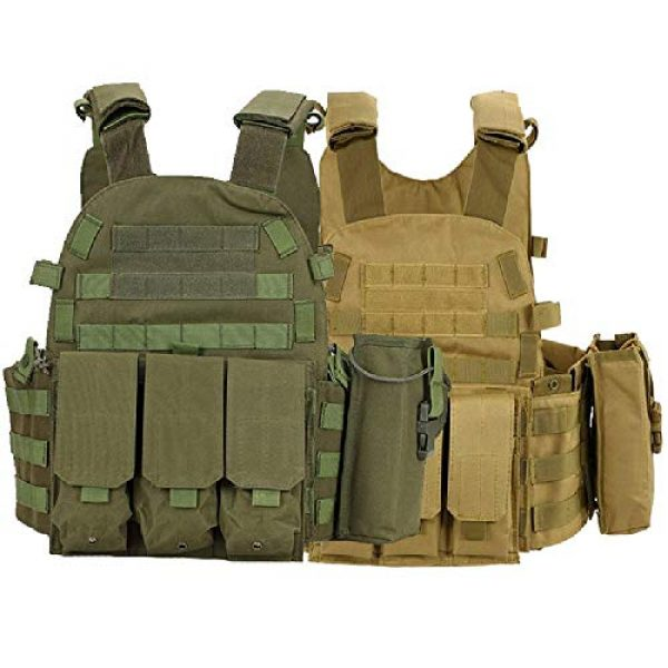 BGJ Airsoft Tactical Vest 3 Tactical 6094 Molle Vest Military Combat Body Armor Vest Army Airsoft Paintball Wargame Plate Carrier Vest Hunting Accessories