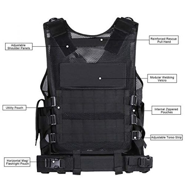 WWahuayuan Airsoft Tactical Vest 4 WWahuayuan Adjustable Tactical Vest Trainning Tactical Airsoft Paintball Ultralight Breathable Combat Training Vest for Adults 600D Encryption Polyester-VT-1063