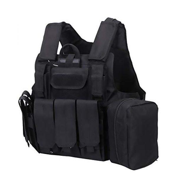 WEQ Airsoft Tactical Vest 1 WEQ Tactical Molle Airsoft Vest Paintball Combat Training Vest Adjustable (Color : Black)