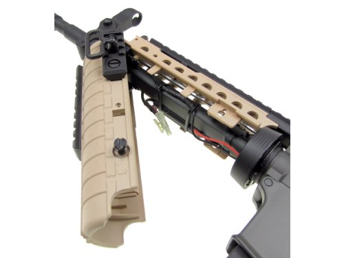 Jing Gong (JG)  5 JG airsoft m4 s-system full metal gearbox desert tan aeg rifle w/ integrated ris and high performance tight bore barrel - newest enhanced model(Airsoft Gun)