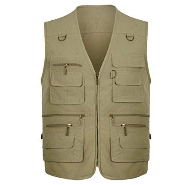 DAFREW Airsoft Tactical Vest 1 DAFREW Multi-Pocket Vest Fishing Vest Outdoor Photography Vest Spring and Autumn Solid Color Vest (Color : Beige, Size : XXXXL)