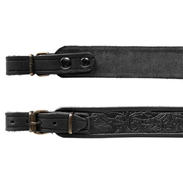Free2Buy Airsoft Gun Sling 6 Free2Buy Rifle Sling Gun Shoulder Genuine Leather Adjustable Belt for Hunting Outdoor Tactical Shotgun Sling Strap Shotgun Embossed Black/Brown