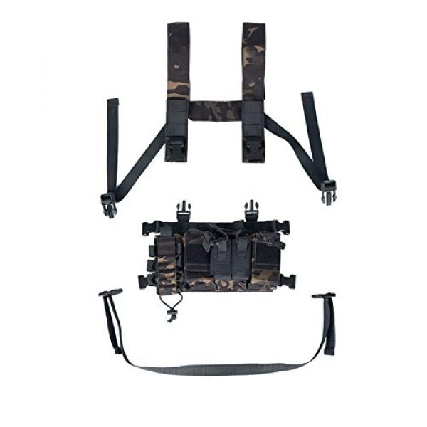 Armiya Airsoft Tactical Vest 3 Armiya Chest Rigs Tactical Airsoft, Molle Multifunction Paintball Rig Pistol Holster Harness Bag Vest for Men Shooting Hunting Training