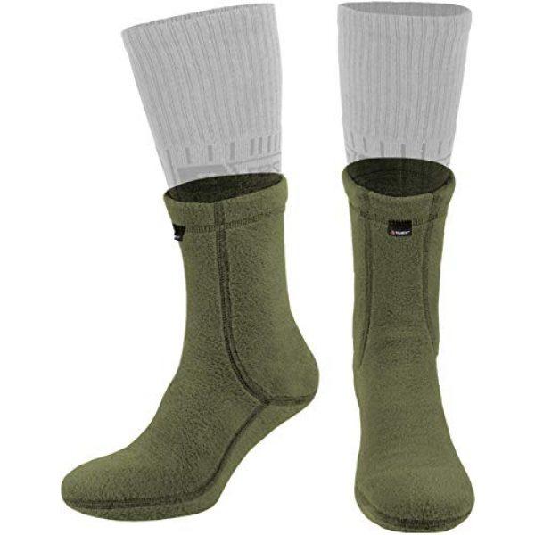281Z Combat Boot Sock Liner 1 Military Warm 6 inch Liners Boot Socks - Outdoor Tactical Hiking Sport - Polartec Fleece Winter Socks (Green Khaki)