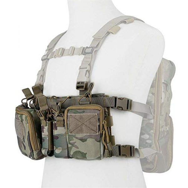 Armiya Airsoft Tactical Vest 4 Armiya Mens Tactical Airsoft Chest Rig Molle Harness Vest Multicam Mag Pouch with Multi Pockets for Hiking Training Cycling