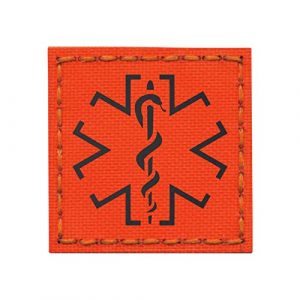Tactical Freaky Airsoft Morale Patch 1 IR Hi Viz EMS Star of Life Orange Fluo Medic 2x2 SAR Safety Infrared Tactical Morale Touch Fastener Patch