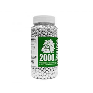 BULLDOG AIRSOFT Airsoft BB 1 Bulldog - [2000] Airsoft Pellets [0.32g] Biodegradable [6mm White] Triple Polished [Pro Team Grade]