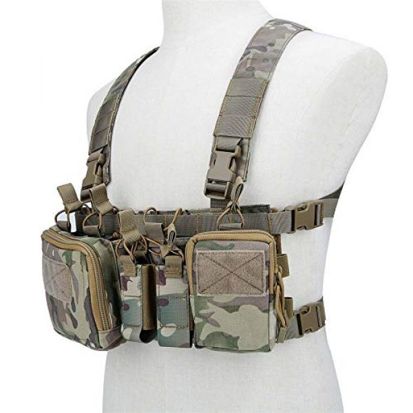 Armiya Airsoft Tactical Vest 1 Armiya Mens Tactical Airsoft Chest Rig Molle Harness Vest Multicam Mag Pouch with Multi Pockets for Hiking Training Cycling