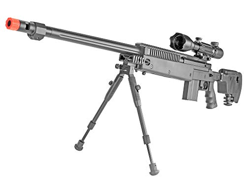 BBTac  1 BBTac Well MB04 G-22 AWM Airsoft Sniper Rifle with 3-9 x 40 Scope and Bi-Pod
