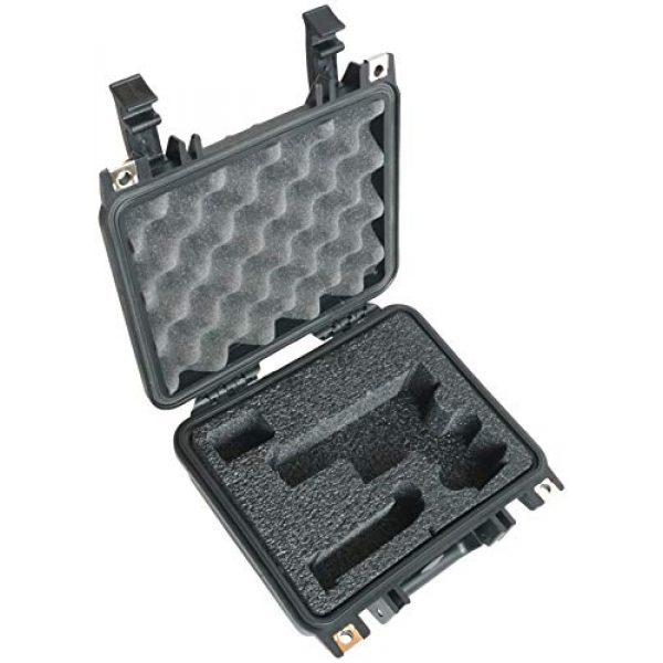 Case Club Pistol Case 1 Case Club Glock 19 & 4 Magazine Pre-Cut Heavy Duty Waterproof Case (Accommodates Optics, Under Barrel attachments & Speed Loader)