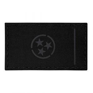 Tactical Freaky Airsoft Morale Patch 1 IR Blackout Tennessee State Flag 2x3.5 Infrared All Black IFF Tactical Morale Touch Fastener Patch