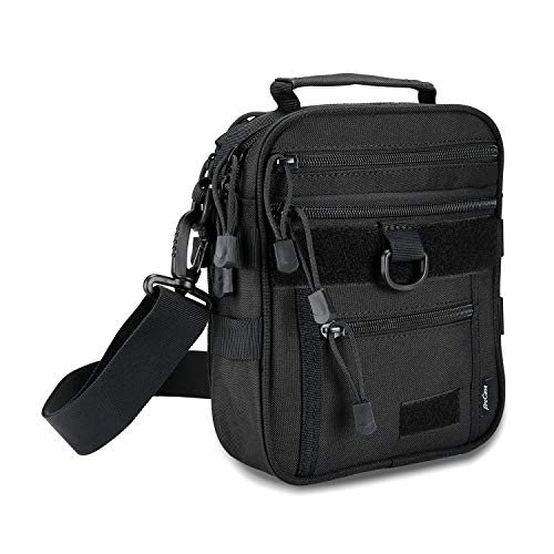 ProCase Pistol Case 1 ProCase Pistol Bag, Military Gear Tactical Handgun Shoulder Strap Bag Gun Ammo Accessories Pouch Shooting Range Duffle Bag for Shooting Range Sport - Black