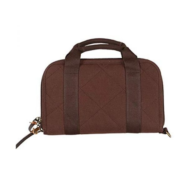 Allen Company Pistol Case 4 Allen Company Muddy Creek Heritage Oversized Double Handgun Attache, Rifle and Shotgun Gun Case, Universal, 48 and 52 inches, Lockable, Quilted Cotton Canvas with Leather Trim, Made in The USA, Brown