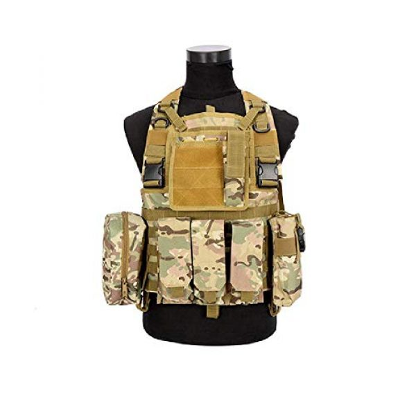 BGJ Airsoft Tactical Vest 1 CP Camo Vest RRV Molle Airsoft Tactical Vest Military Combat Assault Chest Rig Paintball Police Body Armor Hunting Vest