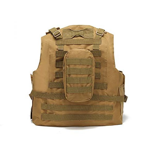 JFFLYIT Airsoft Tactical Vest 2 JFFLYIT Outdoor Sports Tactical Vest Wear Resistant Durable Combat Training Vest Breathable Adjustable CS Vest with Bag Khaki