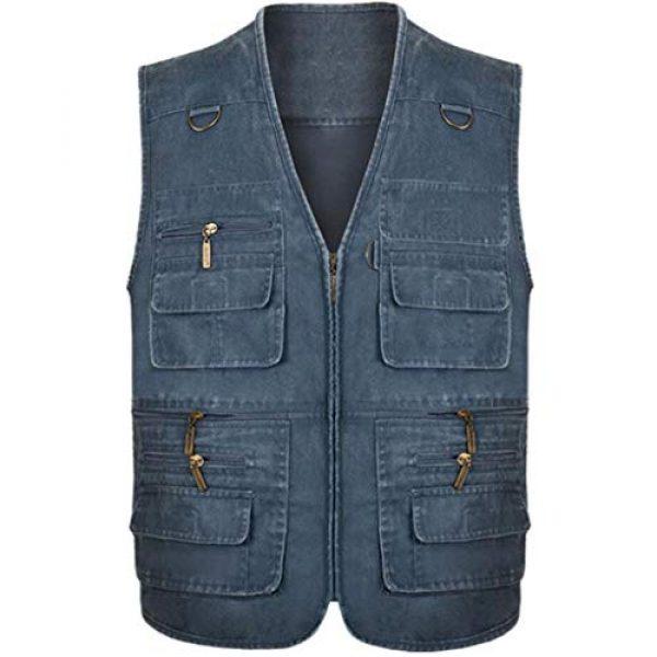DAFREW Airsoft Tactical Vest 1 DAFREW Men's Outdoor Vest, Spring and Autumn Casual Outdoor Vest, Multi-Pocket Photography Cotton Fishing Vest (Color : Blue, Size : XXL)