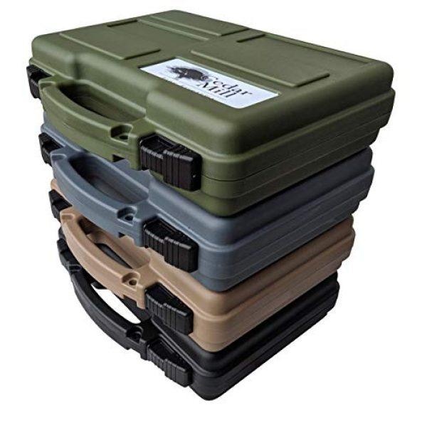 Cedar Mill Fine Firearms Pistol Case 1 Multipack of 4 Easily identifiable Lockable Pistol Cases. Black, Tan, Green, and Gray - TSA/California Safe - Free Multitools