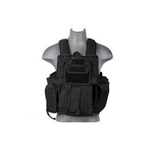 Lancer Tactical Airsoft Tactical Vest 1 LT 303B MOLLE PALS Military Training Hunting Gaming Vest with Web Modular System Black Fit Small Medium Large Sizes