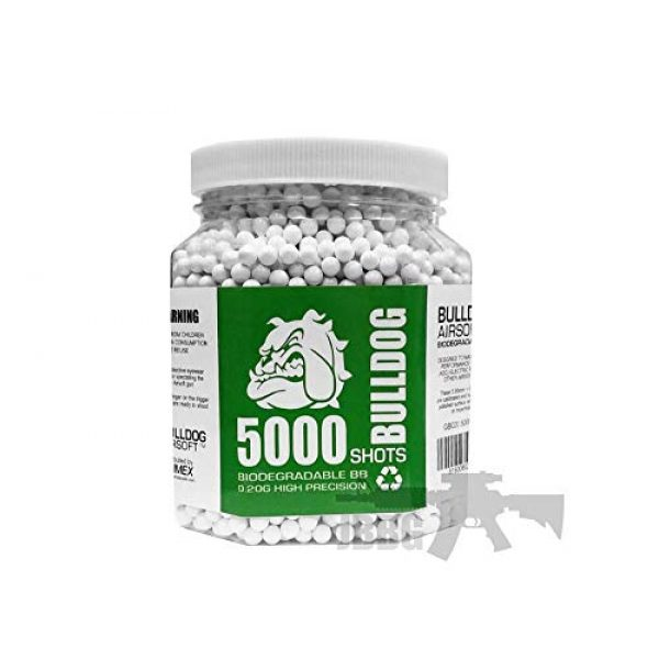 BULLDOG AIRSOFT Airsoft BB 2 BULLDOG - [5000 Airsoft Pellets [0.20g] Biodegradable [6mm White] Triple Polished [Pro Team Grade]