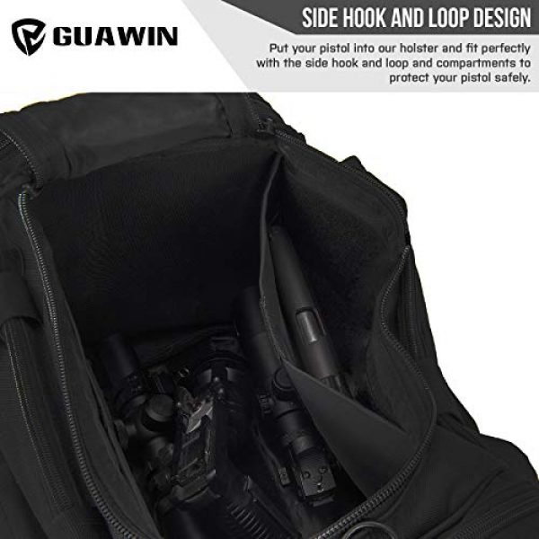 GUAWIN Pistol Case 3 Range Bag Tactical Bag Gun Bag for Handguns Pistol Durable Water Resistant Tactical Duffle Bag with Magazine Gear Accessories Pouch Suitable for Shooting Range, Hunting, Storage and Transport