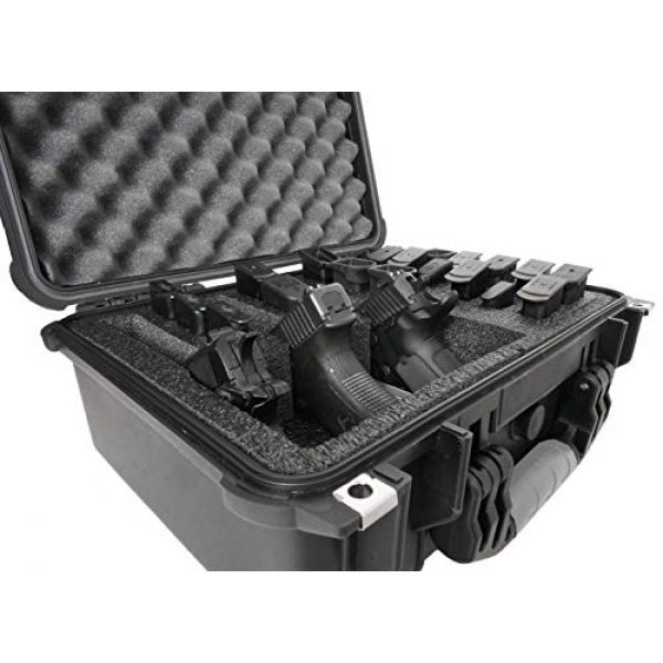 Case Club Pistol Case 5 Case Club 3 Pistol & Accessory & Up to 23 Magazines Pre-Cut Waterproof Case with Silica Gel to Help Prevent Gun Rust (Gen 2)