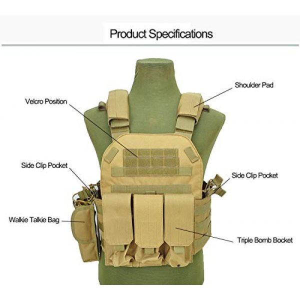 BGJ Airsoft Tactical Vest 5 BGJ Military Tactical Vest Army Airsoft Molle Vest CS Game Combat Gear Outdoor Various Accessory Kit Hunting Clothing Vest Multicam
