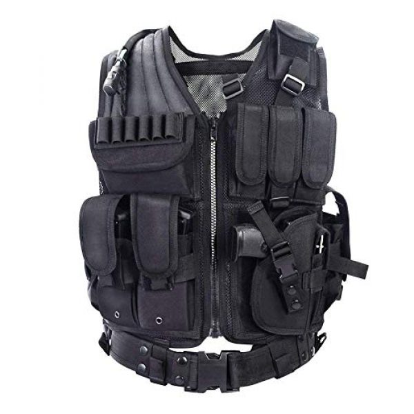 GXYWAN Airsoft Tactical Vest 1 GXYWAN Tactical CS Field Vest Paintball Training Airsoft Ultra-Light Breathable Combat Adjustable Vest(Black)