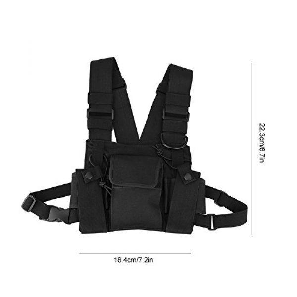 Hakeeta Airsoft Tactical Vest 7 Hakeeta Walkie-Talkie Chest Bag, Nylon Chest Front Pack,Chest Harness.Universal Adjustable Bag with Three-Ring Adjustment Strap System for Rescue, Police, Duty and Workshopps