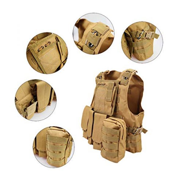 KIDYBELL Airsoft Tactical Vest 7 KIDYBELL Khaki Adjustable Airsoft Vest Lightweight Oxford Cloth Tactical Training Vest is Suitable for Outdoor Hunting Army Fan Combat Training Airsoft and Other Outdoor Sports