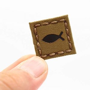 Tactical Freaky Airsoft Morale Patch 1 IR Coyote 1x1 Ichthys Cat Eye Patch Jesus Fish Crusader Christian Morale Tactical