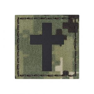 Tactical Freaky Airsoft Morale Patch 1 IR AOR2 NWU Type III Christian Cross Jesus Christ 2x2 Crucifix Faith Religion God Infrared Tactical Morale Hook&Loop Patch