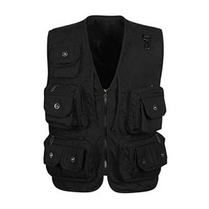 DAFREW Airsoft Tactical Vest 1 DAFREW Multi-Pocket Vest Photography Vest Outdoor Leisure Fishing Vest Quick-Drying Breathable Sleeveless top (Color : Black, Size : L)