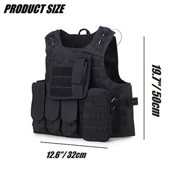HYCOPROT Airsoft Tactical Vest 5 HYCOPROT Tactical Vest, 1000D Oxford Adjustable Military Airsoft Vest with Multipurpose Pouches for Paintball, Combat, Training, Outdoor, Shooting, Hunting