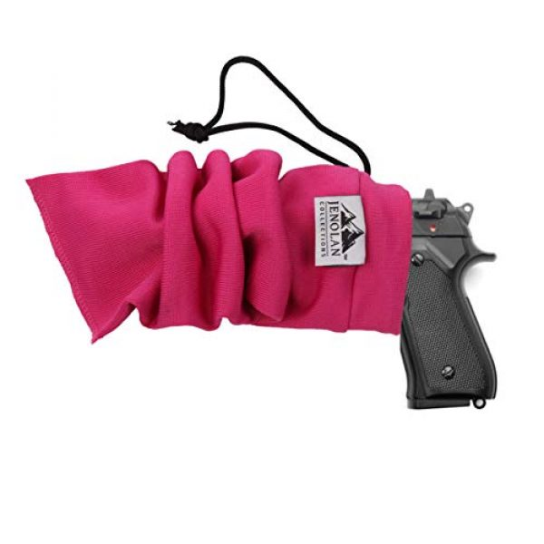 """Jenolan Collections Pistol Case 4 Jenolan Collections Silicone Treated 4.3"""" x 15.7"""" Pink Handgun Socks Pack for Pistols Revolvers and Glocks (4 Pack) for Women. Included is a Gun Cleaning Cloth."""