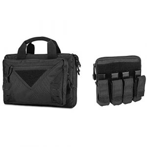 ProCase Pistol Case 1 ProCase Tactical Pistol Case Shooting Range Duffle Bag for Hunting or Shooting Range Sport Bundle with Tactical Pistol Mag Pouch Submachine Gun Magazine Bag for Glock M1911 92F Smith and More -Black