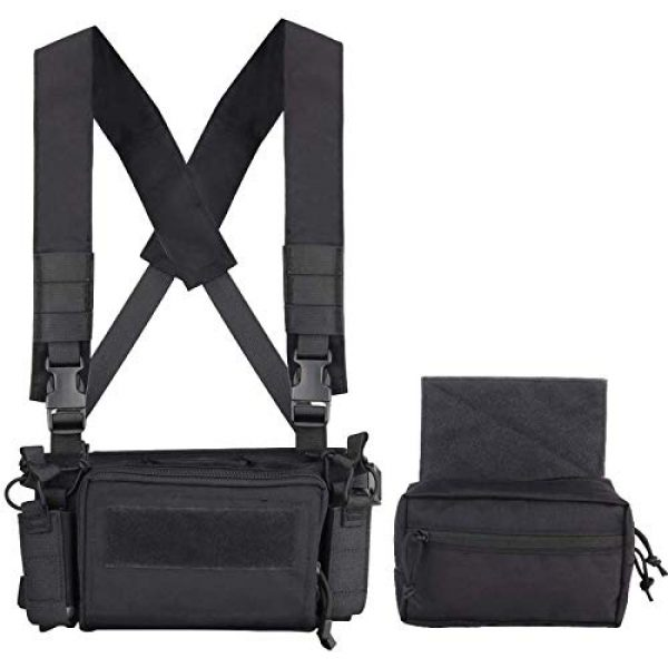 Fachouse Airsoft Tactical Vest 3 Tactical Chest Rig, X Harness Rifle Pistol Magazine Pouch Vest, 500D Military Molle Chest Rig Accessories for Airsoft Shooting Paintball