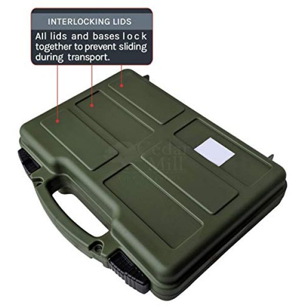 Cedar Mill Fine Firearms Pistol Case 5 Multipack of 4 Easily identifiable Lockable Pistol Cases. Black, Tan, Green, and Gray - TSA/California Safe - Free Multitools