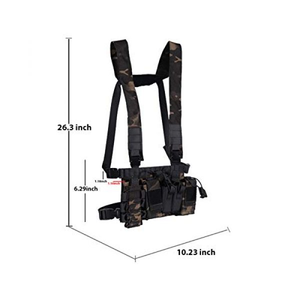 Armiya Airsoft Tactical Vest 2 Armiya Chest Rigs Tactical Airsoft, Molle Multifunction Paintball Rig Pistol Holster Harness Bag Vest for Men Shooting Hunting Training