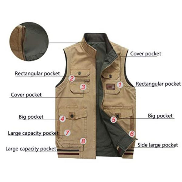 DAFREW Airsoft Tactical Vest 5 DAFREW Vest,Double-Sided wear Sleeveless Jacket Multi-Pocket Fishing Vest Jacket Wearing Vest Casual Jacket (Color : Army Green, Size : XXXL)