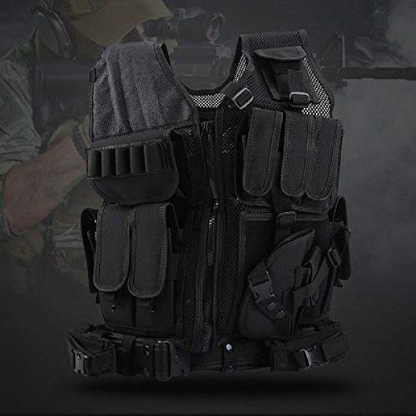 FUZHEN Airsoft Tactical Vest 3 FUZHEN Tactical Vest Outdoor,Breathable Combat Training Vest Adjustable,with 4 Deluxe Adjustable Rifle Mag Pouches Tactical Vest