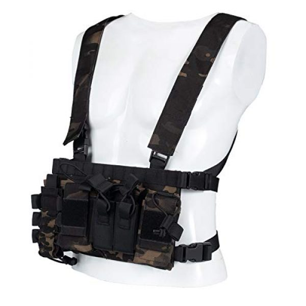 Armiya Airsoft Tactical Vest 7 Armiya Chest Rigs Tactical Airsoft, Molle Multifunction Paintball Rig Pistol Holster Harness Bag Vest for Men Shooting Hunting Training