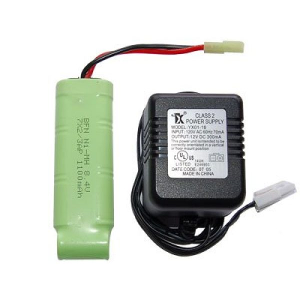 MetalTac Airsoft Gun Battery and Charger 1 MetalTac 8.4v Charger and 1100 mAh Battery 8.4v Flat Pack for Airsoft Guns